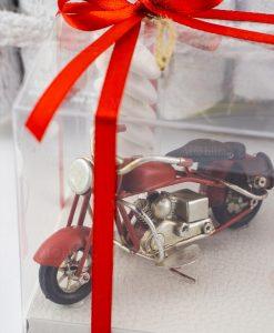 bomboniera modellino moto rossa scatola trasparente nastro rossa