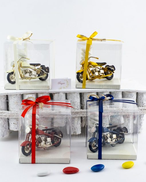 bomboniera modellino piccolo moto da collezione blu giallo avorio e rosso scatola pvc