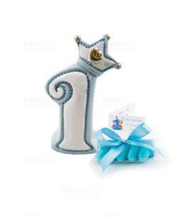bomboniera oggetto a forma di numero 1 con corona azzurra
