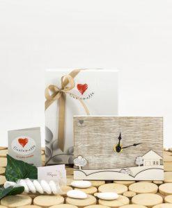 bomboniera orologio da tavolo rettangolare con casetta legno e alberelli con scatola linea mago di oz cuore matto