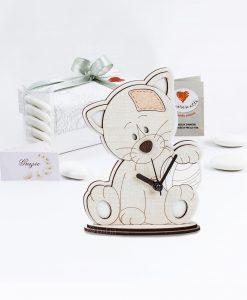 bomboniera orologio legno gattino con palla cuorematto
