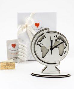 bomboniera orologio mappamondo legno a rilievo prodotti in italia cuorematto