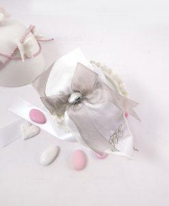 bomboniera portaconfetti bianco e tortora con fiocco linea penelope cherry and peach