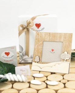 bomboniera portafoto legno con alberelli 16x16 linea mago di oz cuore matto