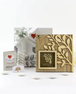 bomboniera portafoto legno con albero della vita linea cuoregaio cuorematto