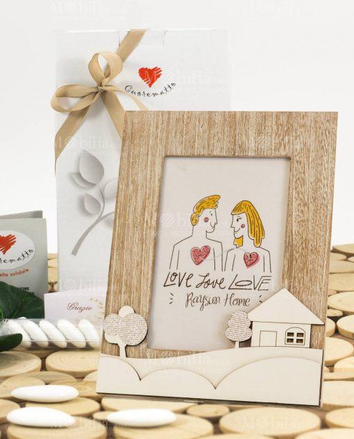 bomboniera portafoto legno con casetta 195x24 linea mago di oz cuore matto