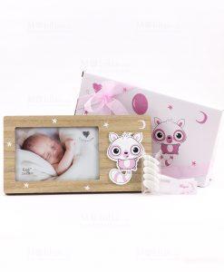 bomboniera portafoto rettangolare bimba con applicazione poldina rosa cuorematto