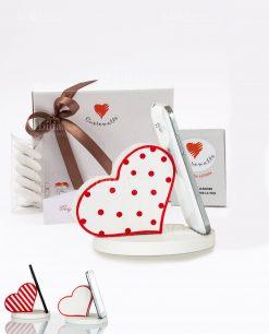 bomboniera portatelefono cuore con pois a righe e bianco con bordo rosso assortiti cuore matto