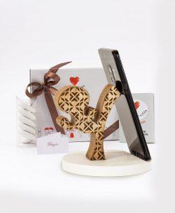 bomboniera portatelefono legno calcio con tubicino cuore matto