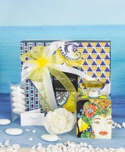 bomboniera profuamtore mini 100 ml con scatola e fiore linea baroque and rock sicily baci milano
