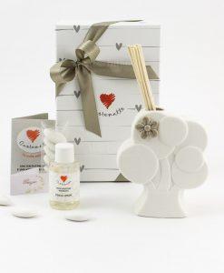 bomboniera profumatore albero con fiore scatola fragranza e bastoncini cuore matto