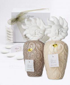 bomboniera profumatore alto tortora e beige con tappo a forma di sole fragranza e scatola inclusa morena
