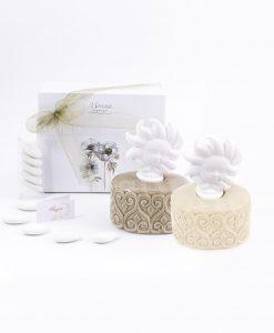 bomboniera profumatore basso tortora e beige con tappo a forma di sole fragranza e scatola inclusa morena