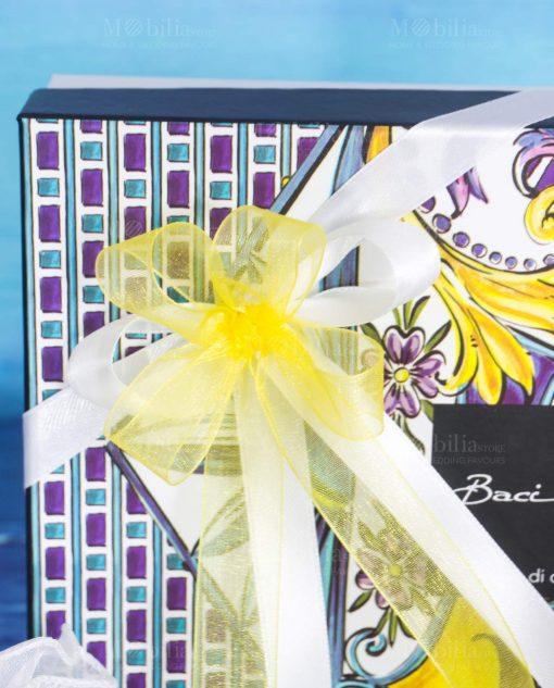 bomboniera profumatore big 375 ml doppio fiocco giallo e bianco linea baroque and rock sicily gold baci milano