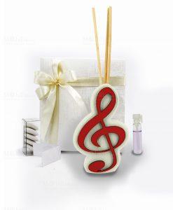 bomboniera profumatore con chiave di violino rossa e bastoncini e profumino linea dolci cose