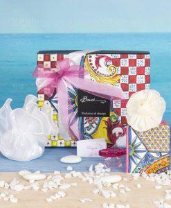 bomboniera profumatore con fiore mini 100 ml con scatola linea baroque and rock sicily pink baci milano
