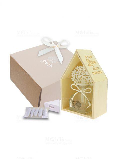 bomboniera profumatore con scatola casetta legno e albero della vita