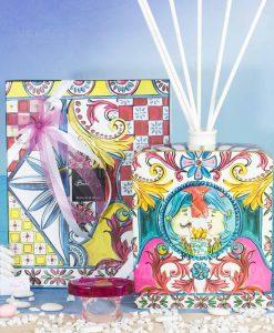 bomboniera profumatore magnum bastoncini scatola linea baroque and rock sicily pink baci milano