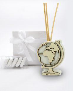 bomboniera profumatore mappamondo bianco con bastoncini linea dolci cose