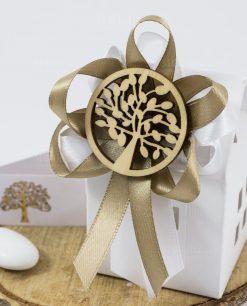 bomboniera scatolina casetta con nastro tortora ciondolo albero della vita e confetti
