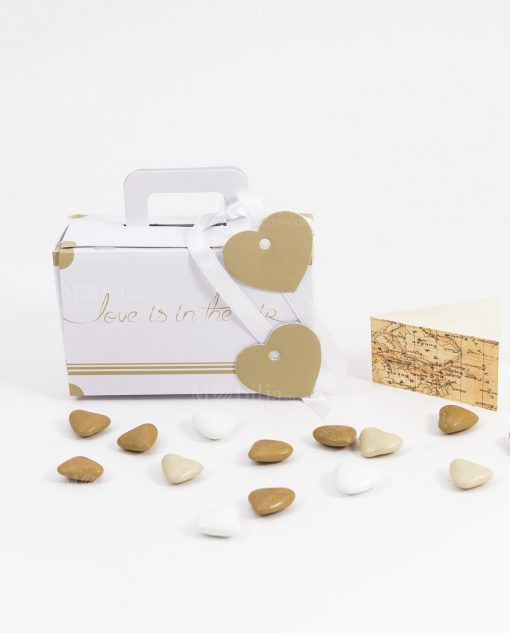bomboniera scatolina portaconfetti valigia bianca love is in the air con cuoricino made in italy spacco