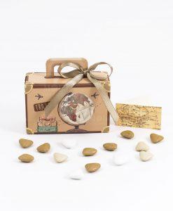 bomboniera scatolina portaconfetti valigia con mappamondo nastro tortora spacco made in italy