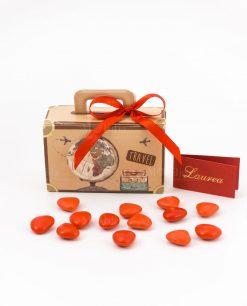bomboniera scatolina portaconfetti valigia con nastro rosso spacco made in italy