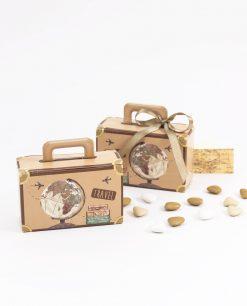bomboniera scatolina portaconfetti valigia con nastro tortora spacco made in italy