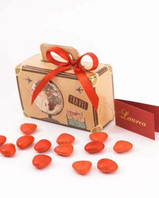 bomboniera scatolina portaconfetti valigia nastro rosso spacco made in italy
