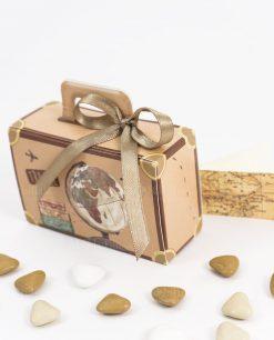 bomboniera scatolina portaconfetti valigia nastro tortora spacco made in italy