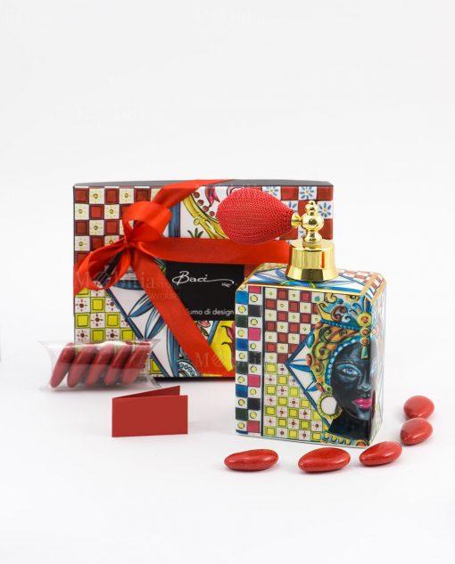 bomboniera spray profumo confetti nastro e bigliettino rossi linea abroque and rock sicily red baci milano