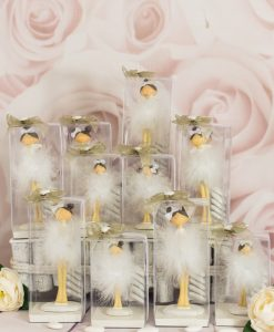 bomboniera statuina ballerina con tutù piume varie misure confezione lusso