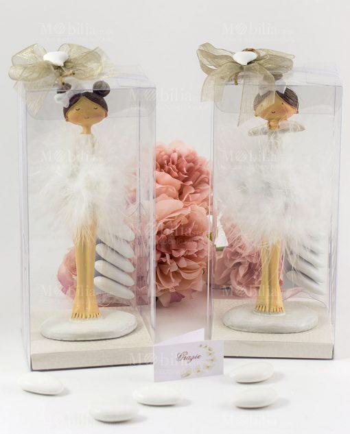 bomboniera statuina ballerina tutù piume grandi confezione lusso con cuoricino
