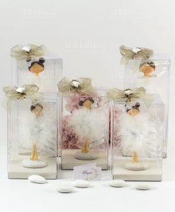 bomboniera statuina ballerina tutù piume grandi e piccole forme assortite confezione lusso con cuoricino