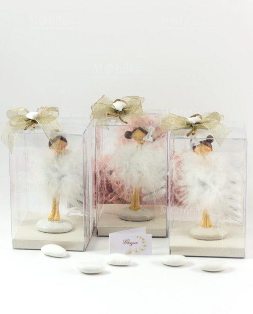 bomboniera statuina ballerina tutù piume piccole confezione lusso con cuoricino