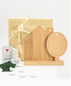 bomboniera tagliere casetta e albero legno bamboo cuore matto
