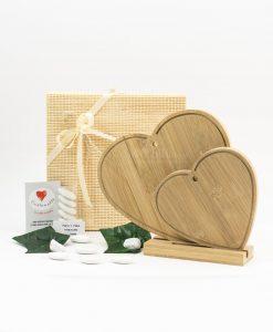 bomboniera tagliere cuore grande e piccolo con base legno bamboo cuore matto