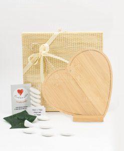 bomboniera tagliere cuore legno bamboo cuore matto
