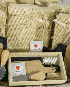 bomboniera tagliere doppio ardesia e legno coltellino scatola bamboo cuorematto