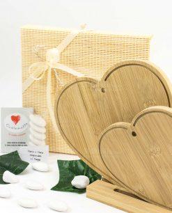 bomboniera tagliere doppio cuore legno bamboo cuore matto
