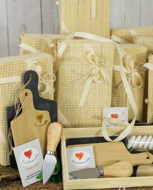 bomboniera tagliere doppio legno e ardesia con coltellino scatola bamboo cuorematto