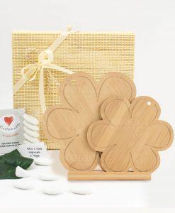 bomboniera tagliere doppio quadrifoglio legno bamboo cuore matto