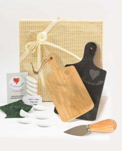 bomboniera tagliere rettangolare due pezzi legno bamboo e ardesia con coltellino formaggio cuore matto