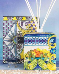 bottiglia diffusore bastoncini scatola linea baroque and rock sicily blu baci milano
