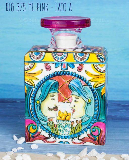 bottiglia diffusore di fragranza big maxi 375 ml lato a linea baroque and rock sicily pink baci milano