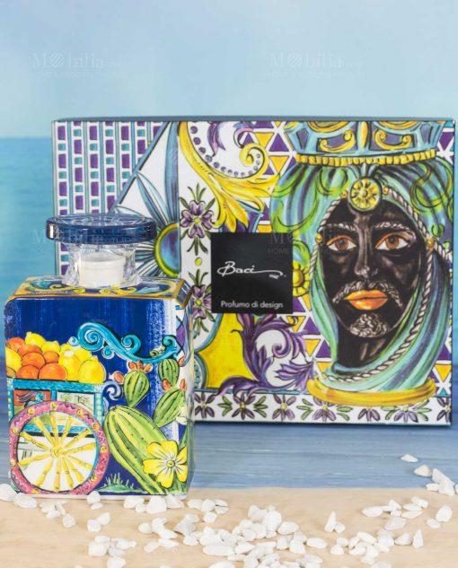 bottiglia profumatore big maxi 375 ml con scatola linea baroque and rock sicily blu baci milano