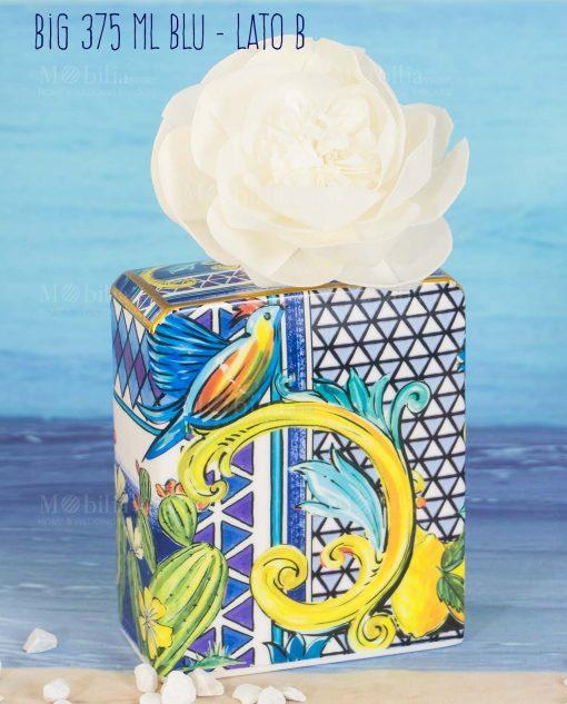 bottiglia profumatore big maxi 375 ml lato b con fiore linea baroque and rock sicily blu baci milano