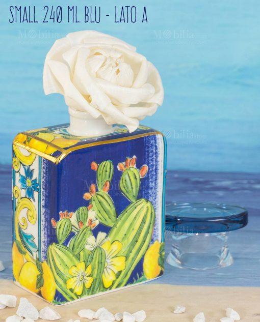 bottiglia profumatore con fiore midi 240 ml lato a linea baroque and rock sicily blu baci milano