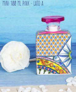 bottiglia profumatore con fiore mini 100 ml lato a linea baroque and rock sicily pink baci milano