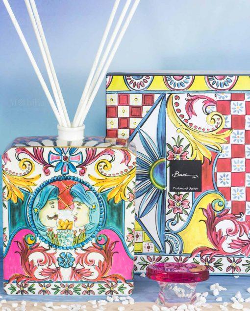bottiglia profumatore magnum bastoncinii scatola linea baroque and rock sicily pink baci milano